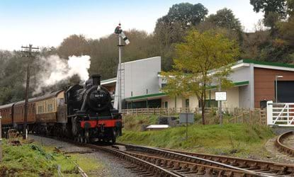 steam train passing the engine house shropshire